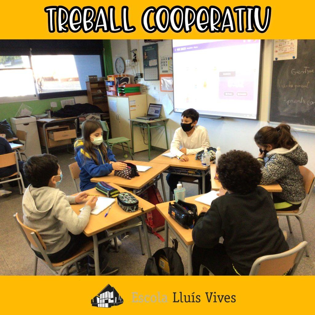 alumnes treballant de forma cooperativa