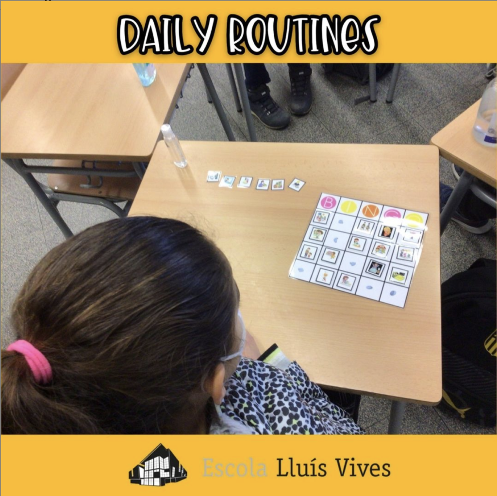 students practicing daily routines in the classroom